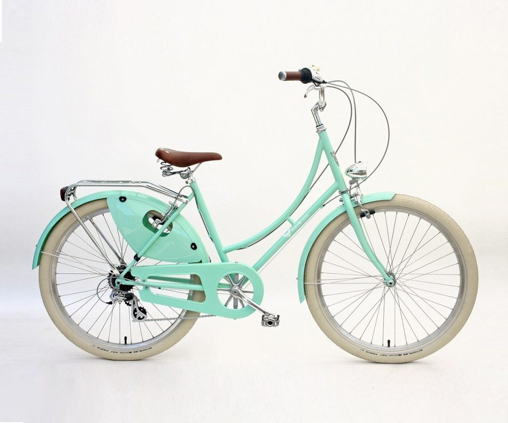balloon tires on seafoam vintage bike
