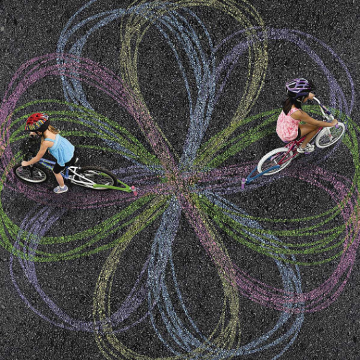 bike chalk drawing in cement