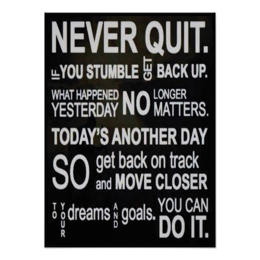 never quit tip healthy lifestyle