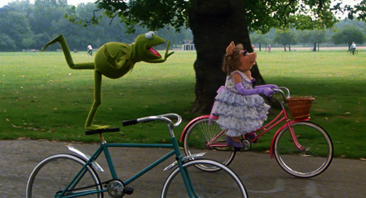 Kermit and Miss Piggy enjoy bicycling benefits as a date activity
