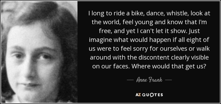 anne frank quote that a benefit of bicycling is feeling young