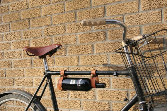 an added bicycling benefit of a customized ride with a wine holder