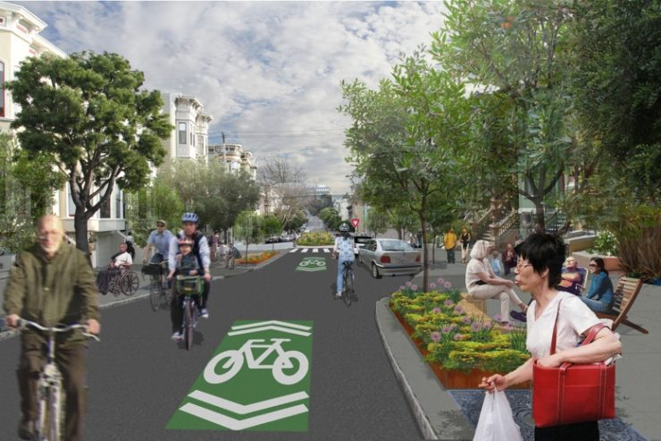 downtown commuter center shows a benefit of biking that is no noise pollution
