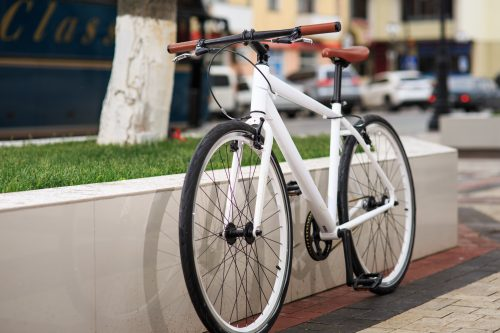 womens fixie bike by wall
