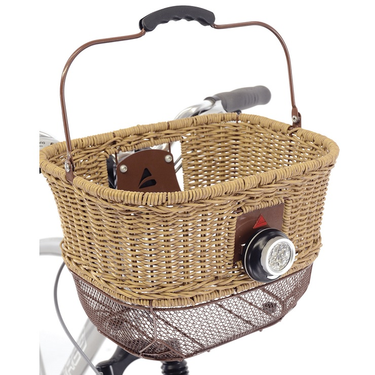 wicker and metal cruiser bike with basket
