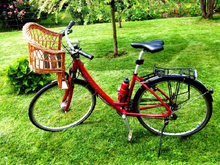 women's red cruiser bike with chair basket