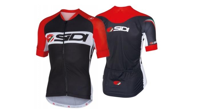 black red biking jersey