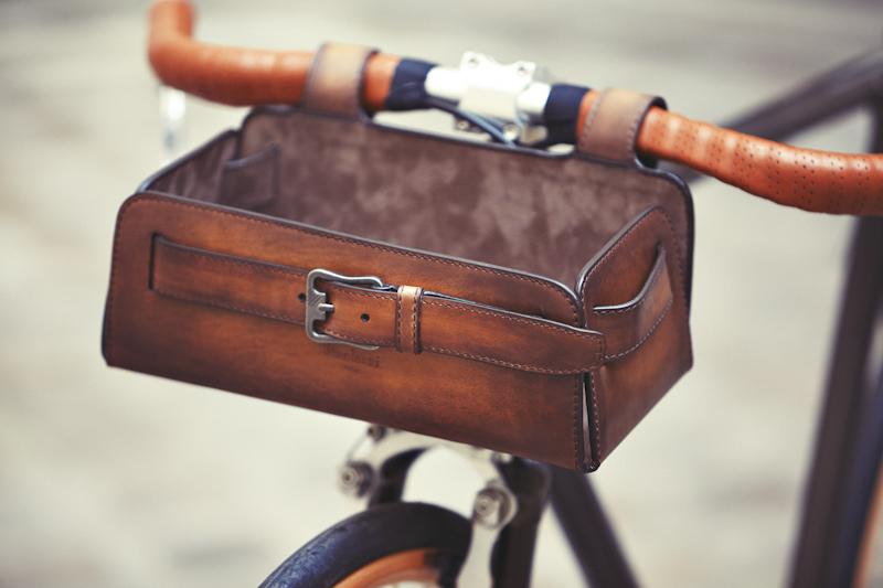 leather bike basket cruiser accessory