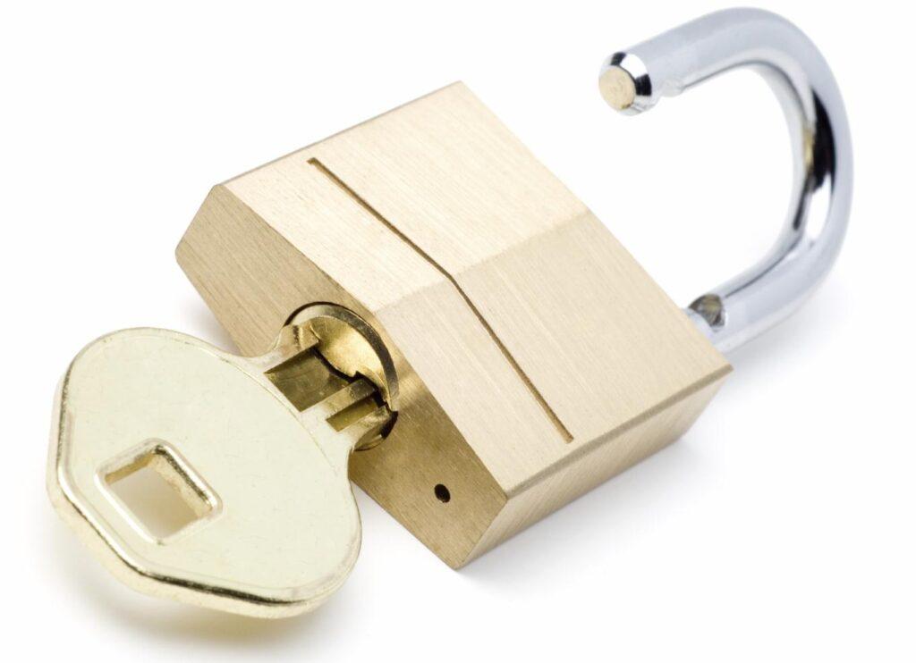 metal padlock and key
