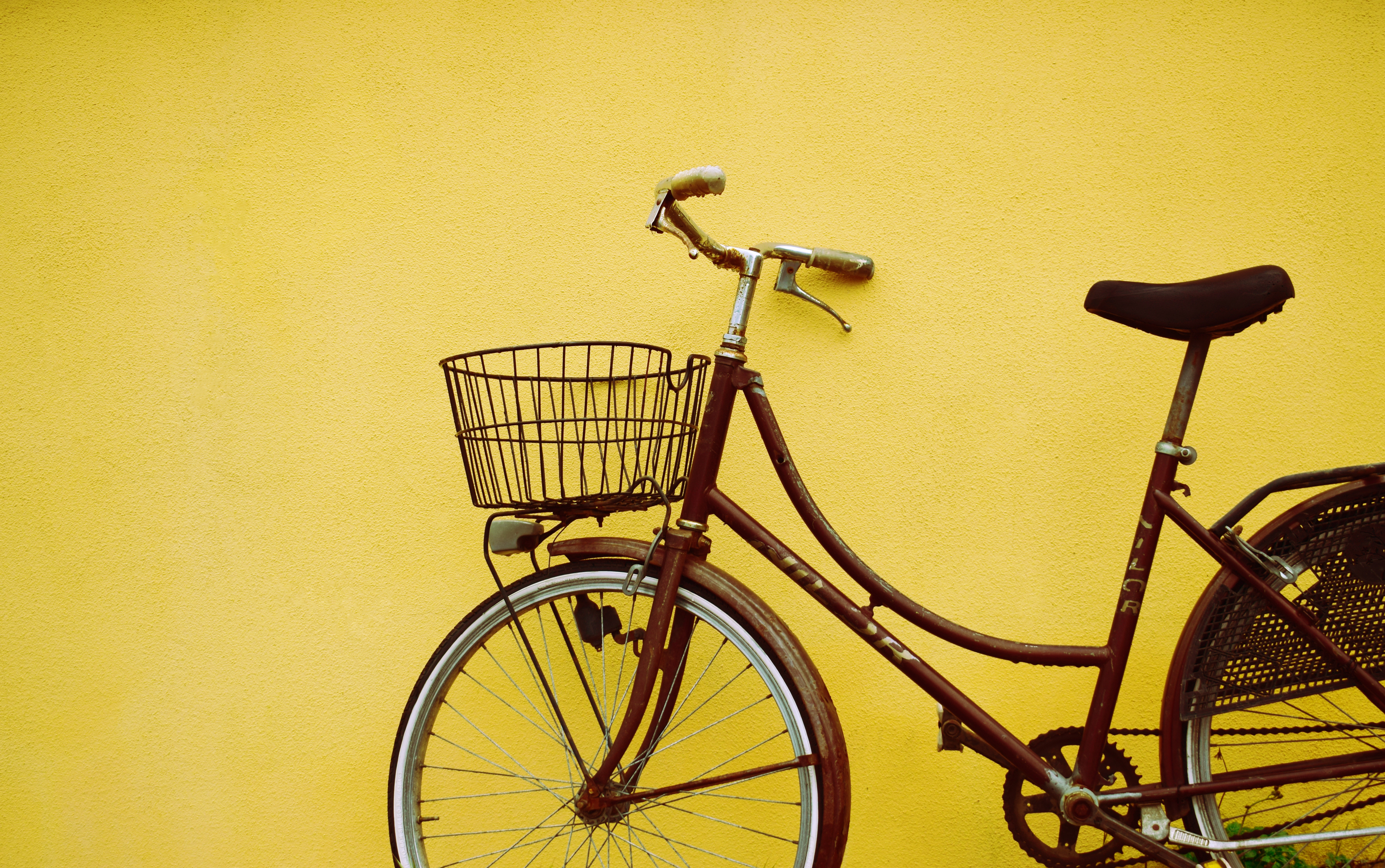 vintage bikes by wall