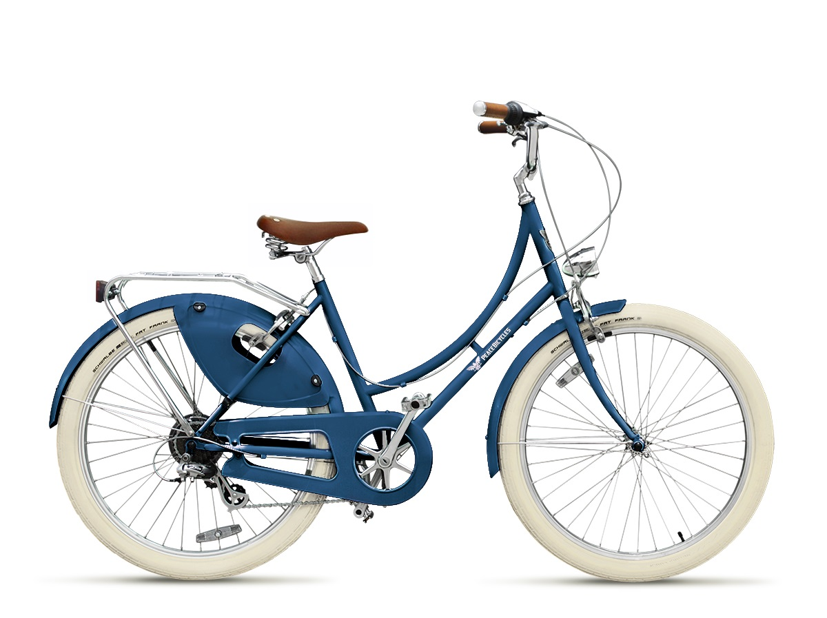 blue cruiser bicycle by Peace Bicycles